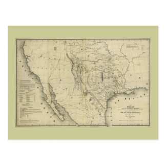 1844  Map of Texas and the Countries Adjacent Postcard