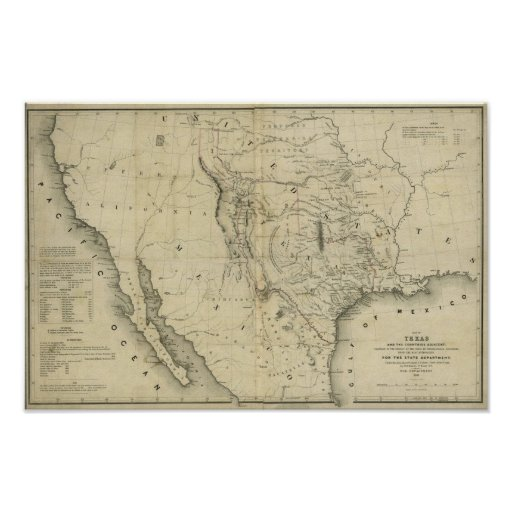 1844  Map of Texas and the Countries Adjacent Poster