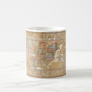 1845 Samuel Mitchell Wall Map of the United States Classic White Coffee Mug