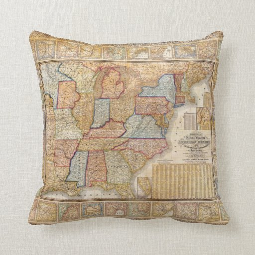 Decorative Pillows With States : 1845 Samuel Mitchell Wall Map of the United States Throw Pillow Zazzle