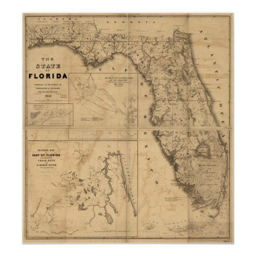 1846 Map of Florida Poster