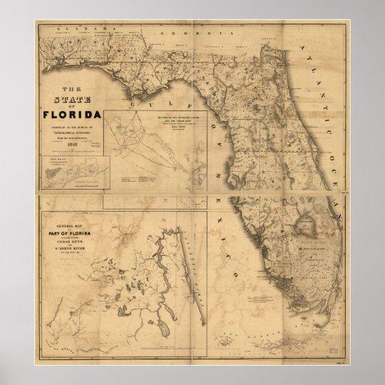 1846 Map of Florida Poster