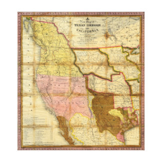1846 Map of Texas Oregon California by A Mitchell Gallery Wrap Canvas