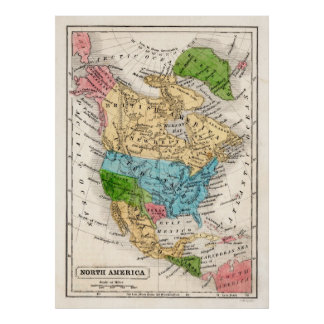 1846 North America Map with Republic of Texas Poster