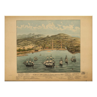 1846 San Francisco CA Birds Eye View Panoramic Map Poster