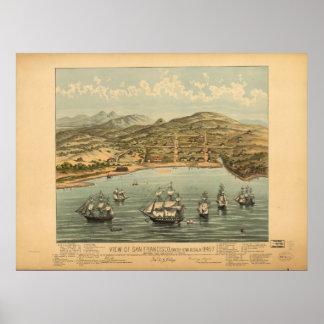 1846 San Francisco CA Birds Eye View Panoramic Map Print