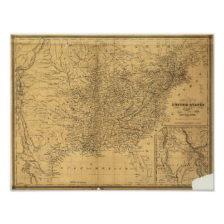 1847 Antique Rail Map of the United States Poster