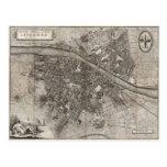 1847 Molini Pocket Map of Florence Italy Postcard