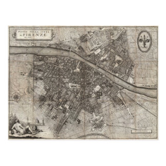 1847 Molini Pocket Map of Florence Italy Postcard