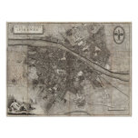 1847 Molini Pocket Map of Florence Italy Posters