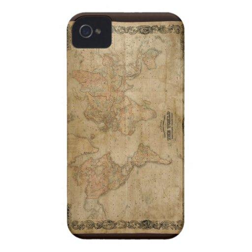 1847 Vintage Old Gold World Map iPhone 4 Case