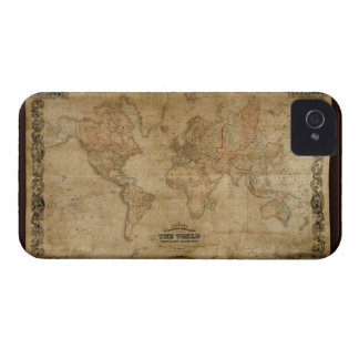 1847 Vintage Old Gold World Map iPhone 4 Case