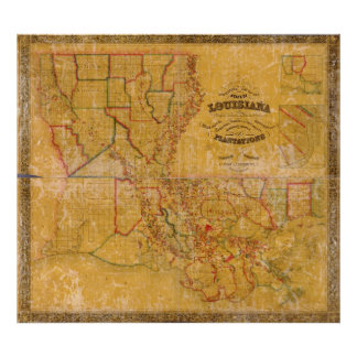 1848 Louisiana Plantations Map Poster
