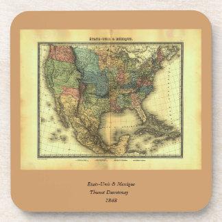 1848 Thunot Duvotenay Map:  Etats-Unis & Mexique Beverage Coaster