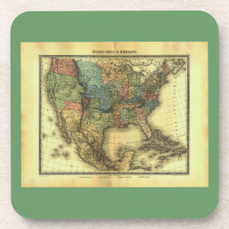 1848 Thunot Duvotenay Map:  Etats-Unis & Mexique Beverage Coaster