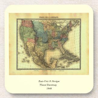 1848 Thunot Duvotenay Map:  Etats-Unis & Mexique Coaster