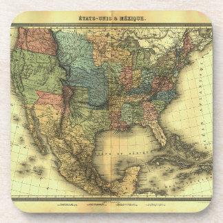 1848 Thunot Duvotenay Map:  Etats-Unis & Mexique Drink Coaster