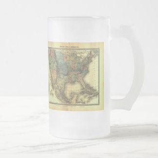 1848 Thunot Duvotenay Map:  Etats-Unis & Mexique Frosted Glass Beer Mug