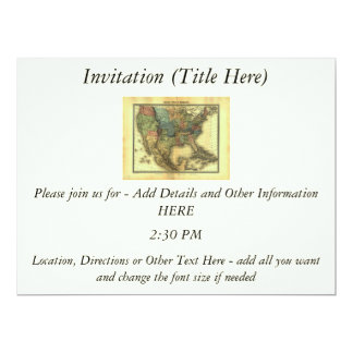 1848 Thunot Duvotenay Map:  Etats-Unis & Mexique 6.5x8.75 Paper Invitation Card