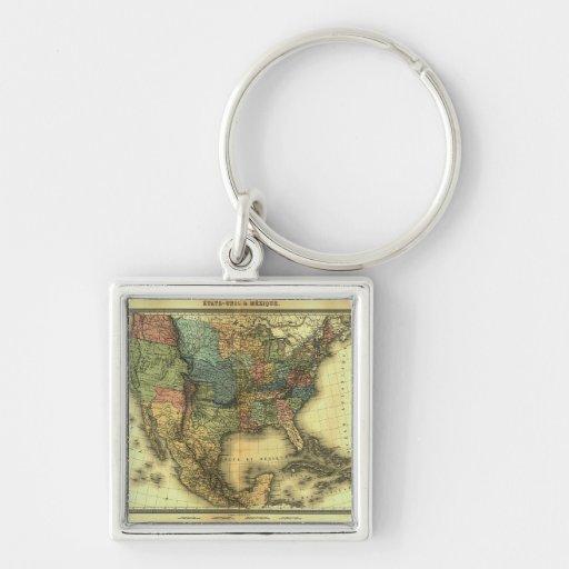 1848 Thunot Duvotenay Map:  Etats-Unis & Mexique Silver-Colored Square Keychain