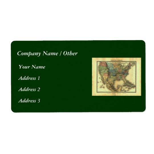 1848 Thunot Duvotenay Map:  Etats-Unis & Mexique Label