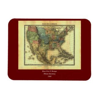 1848 Thunot Duvotenay Map:  Etats-Unis & Mexique Magnet