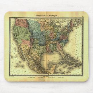 1848 Thunot Duvotenay Map:  Etats-Unis & Mexique Mouse Pad