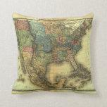 1848 Thunot Duvotenay Map:  Etats-Unis & Mexique Throw Pillows