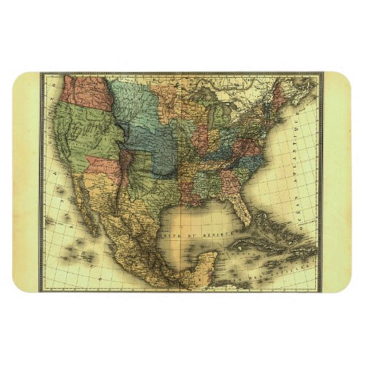 1848 Thunot Duvotenay Map:  Etats-Unis & Mexique Vinyl Magnet
