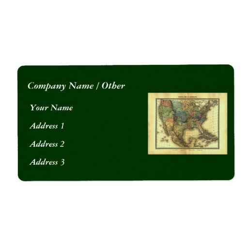1848 Thunot Duvotenay Map:  Etats-Unis & Mexique Shipping Label