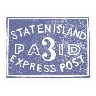 1849 Staten Island Express, Blue Postcard