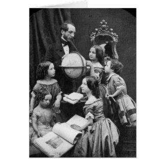 ~ 1850 de la lección de la geografía de la familia tarjeta de felicitación