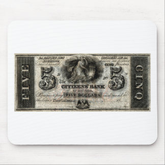 1850 New Orleans Five Dollar Note Mouse Pad