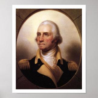 1850 Portrait George Washington Vintage Art Poster