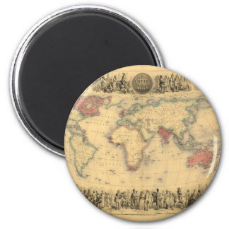 1850's Map of British Empire Throughout the World 2 Inch Round Magnet