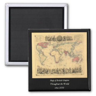 1850's Map of British Empire Throughout the World 2 Inch Square Magnet