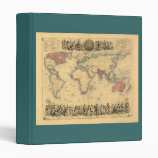 1850's Map of British Empire Throughout the World 3 Ring Binder