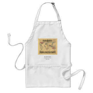 1850's Map of British Empire Throughout the World Adult Apron