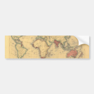 1850's Map of British Empire Throughout the World Bumper Sticker