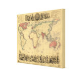 1850's Map of British Empire Throughout the World Canvas Print