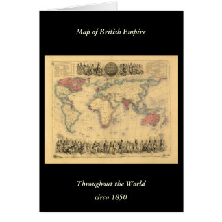 1850's Map of British Empire Throughout the World Card