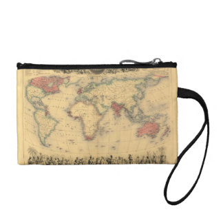 1850's Map of British Empire Throughout the World Coin Wallet