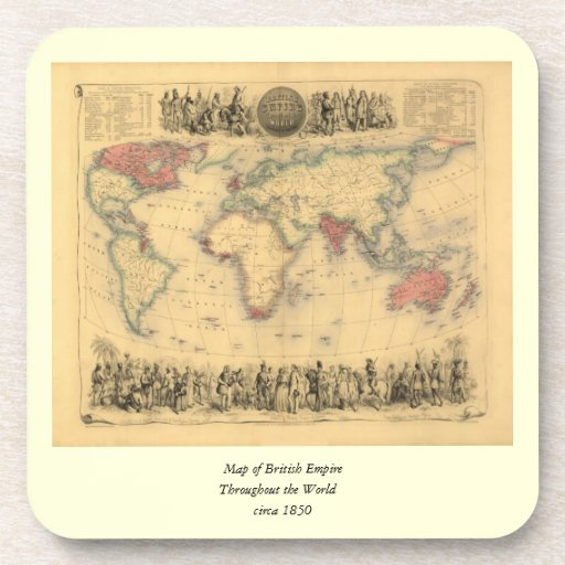 1850's Map of British Empire Throughout the World Coasters