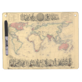 1850's Map of British Empire Throughout the World Dry Erase Board With Keychain Holder