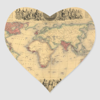 1850's Map of British Empire Throughout the World Heart Sticker