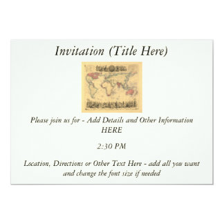 1850's Map of British Empire Throughout the World 5x7 Paper Invitation Card