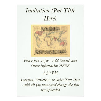 1850's Map of British Empire Throughout the World 5.5x7.5 Paper Invitation Card