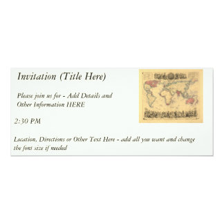 1850's Map of British Empire Throughout the World 4x9.25 Paper Invitation Card