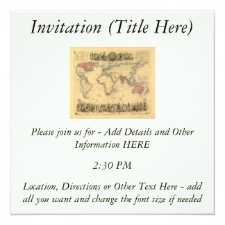 1850's Map of British Empire Throughout the World 5.25x5.25 Square Paper Invitation Card