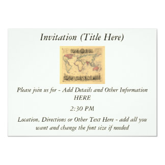 1850's Map of British Empire Throughout the World 4.5x6.25 Paper Invitation Card